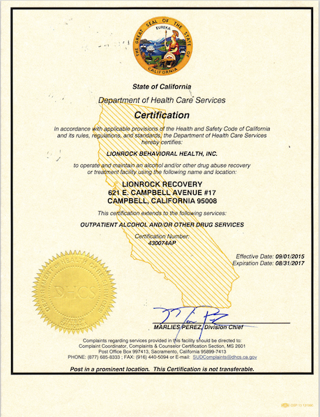 CA Department of Health Care Services Certification